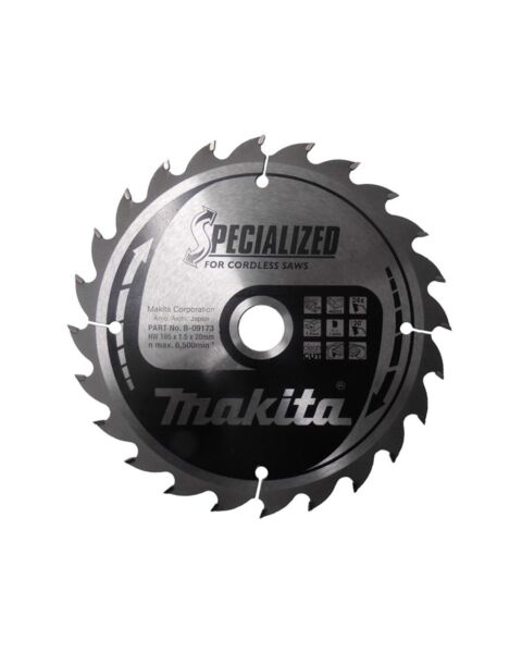MAKITA B-09173 165MM X 24T 20MM BORE CORDLESS SAWBLADE