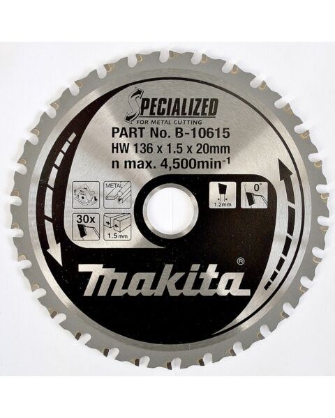 MAKITA B-10615 136MM 30TOOTH 20MM BORE METAL CUT SAWBLADE