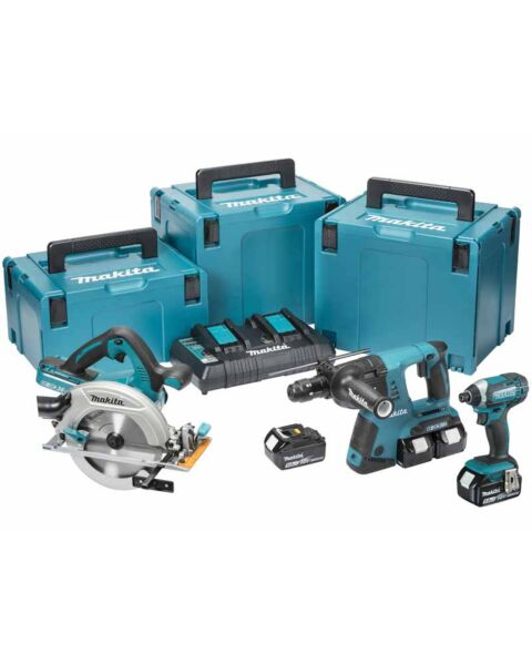 MAKITA DLX3049PTJ 18V LXT 3 PIECE KIT 4 X 5.0AH