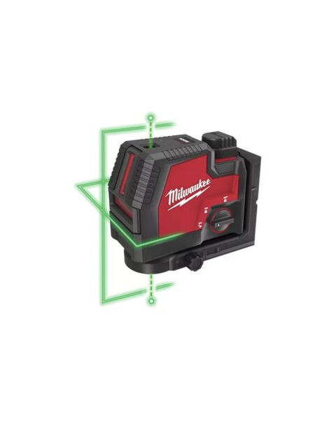 MILWAUKEE L4CLLP-301C GREEN CROSS LINE LASER + PLUMB BOB