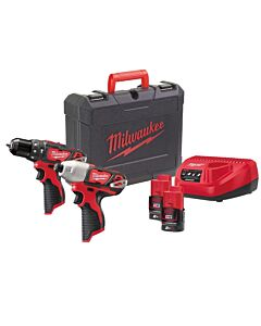 MILWAUKEE M12BPP2B M12 TWIN KIT M12BPD M12BID 2 X 2AH