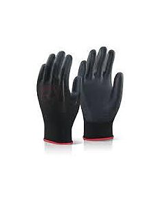 PU THIN EASY WORK GLOVES PAIR BLACK-PUPL-9 SIZE 9 LARGE