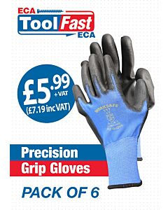 PU Glove (Blue/Black) Large 6 Pack ECA LABEL (PRECISION)